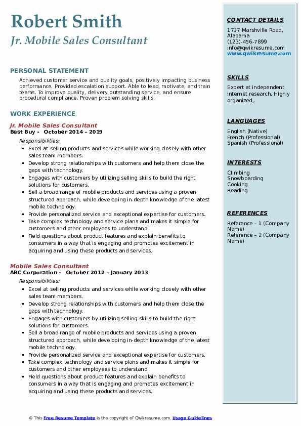 Mobile Sales Consultant Resume Samples Qwikresume