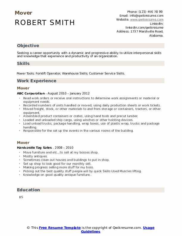 Mover Resume Samples Qwikresume