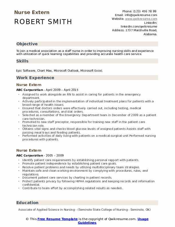 Nurse Extern Resume Samples Qwikresume