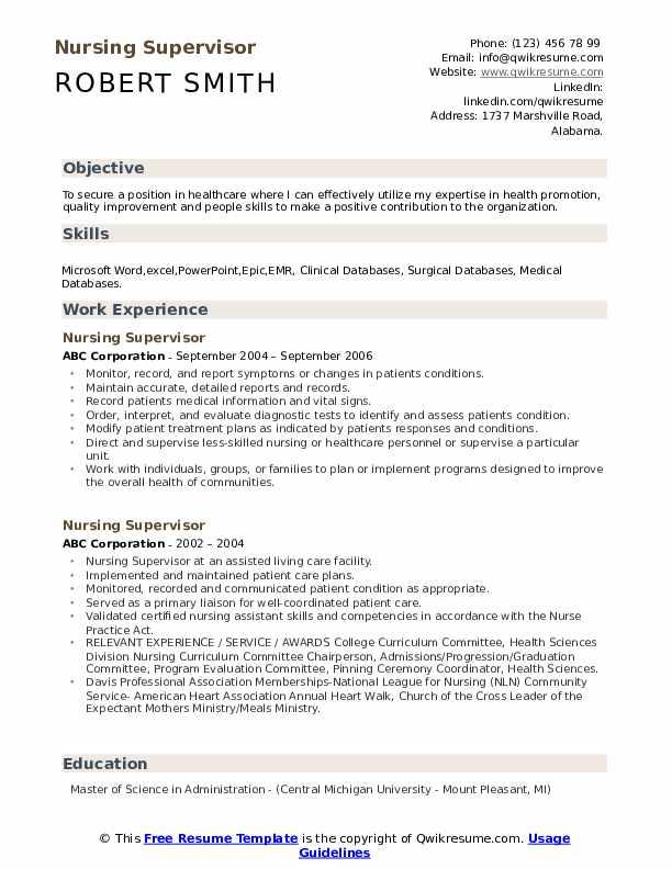 Nursing Supervisor Resume Samples