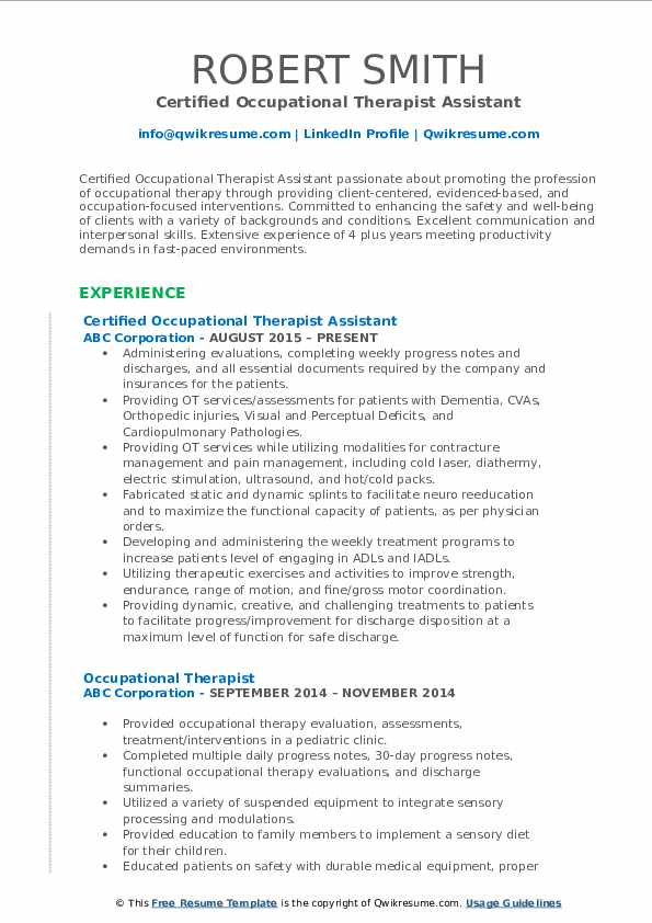 Occupational Therapist Resume Samples Qwikresume