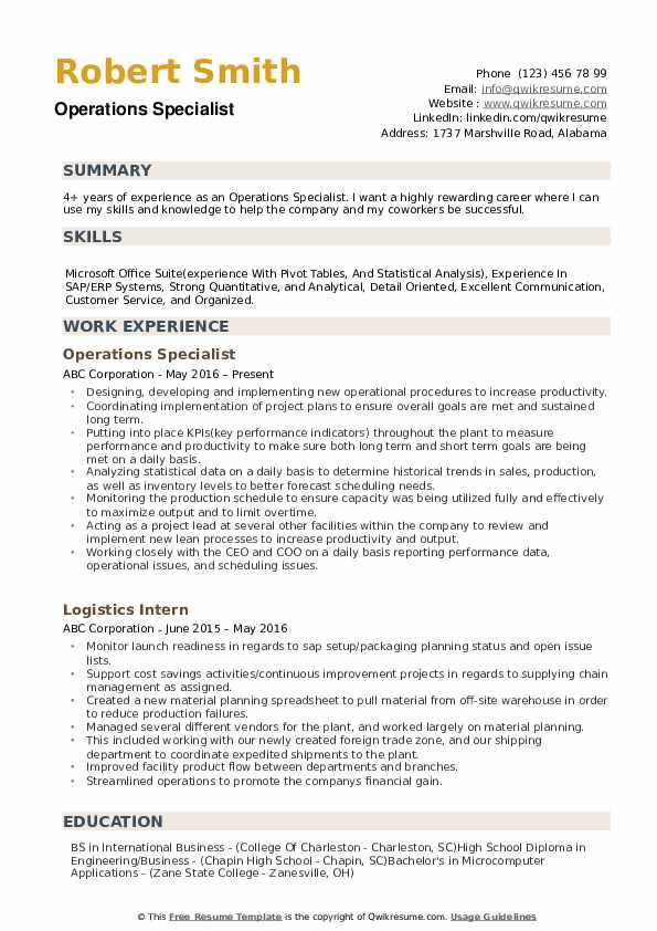 Operations Specialist Resume Samples Qwikresume