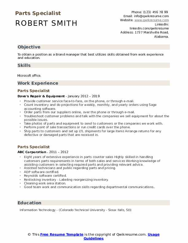 Parts Specialist Resume Samples Qwikresume