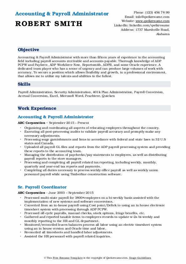 Payroll Administrator Resume Samples Qwikresume