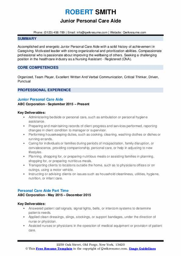 Personal Care Aide Resume Samples Qwikresume