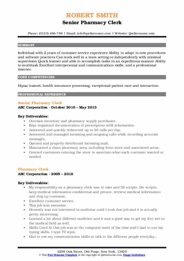 Pharmacy Clerk Resume Samples Qwikresume