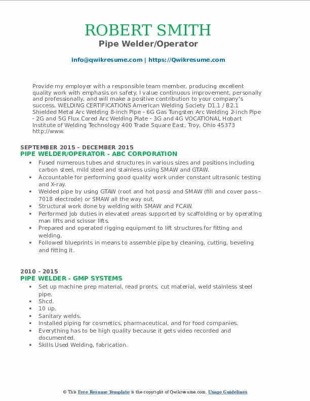6g Arc Welder Resume April 2021
