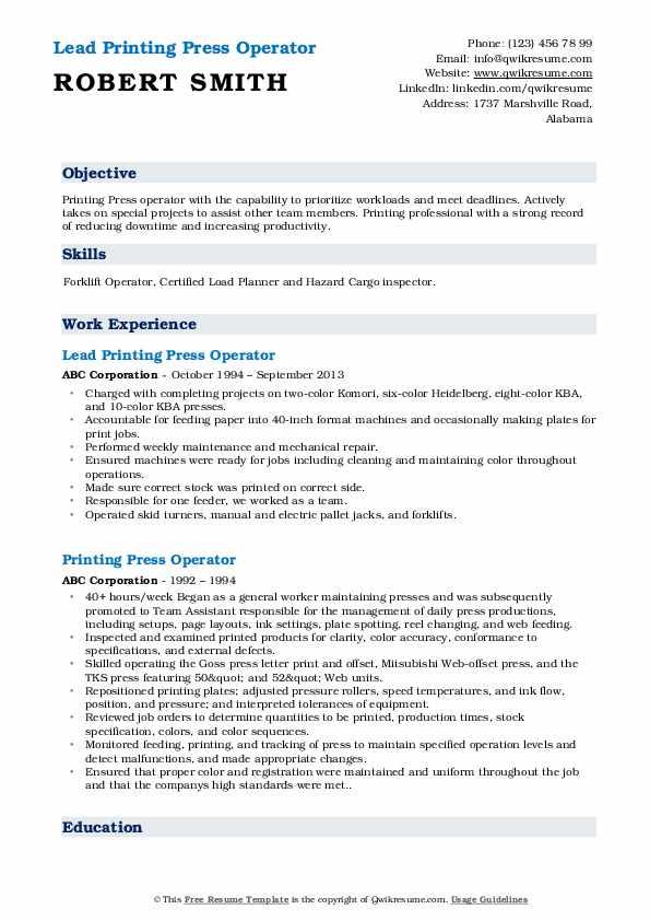 Printing Press Operator Resume Samples Qwikresume