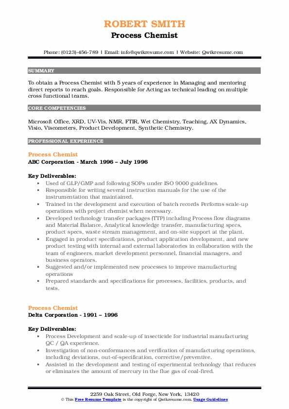 Process Chemist Resume Samples Qwikresume