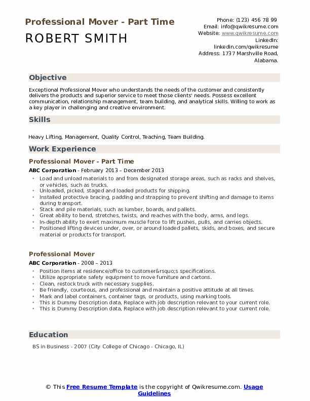 Professional Mover Resume Samples Qwikresume