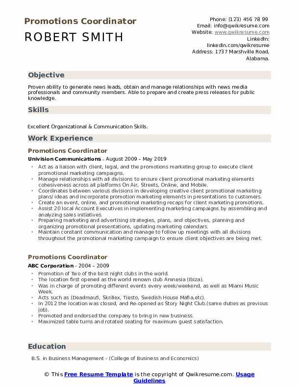 Promotions Coordinator Resume Samples Qwikresume