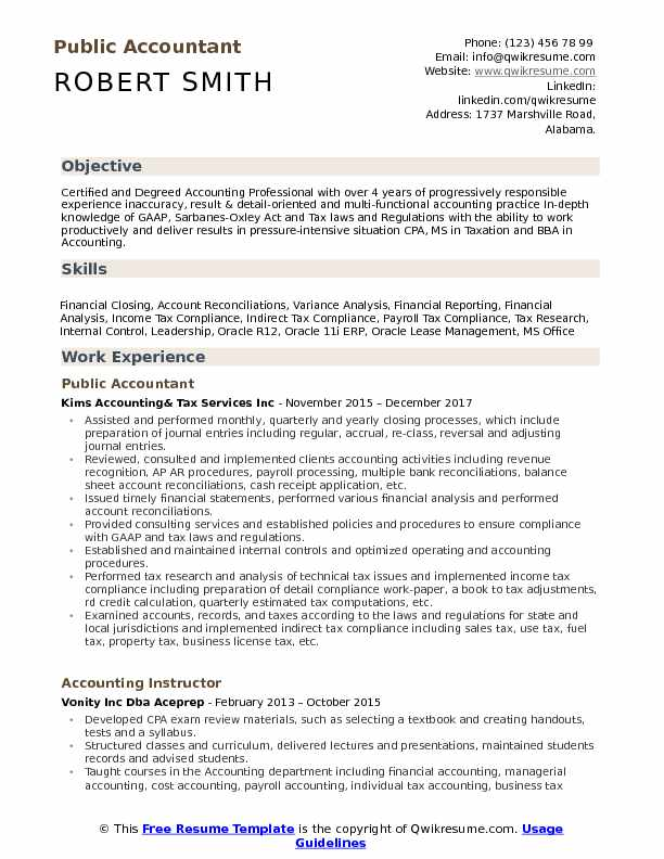 Public Accountant Resume Samples