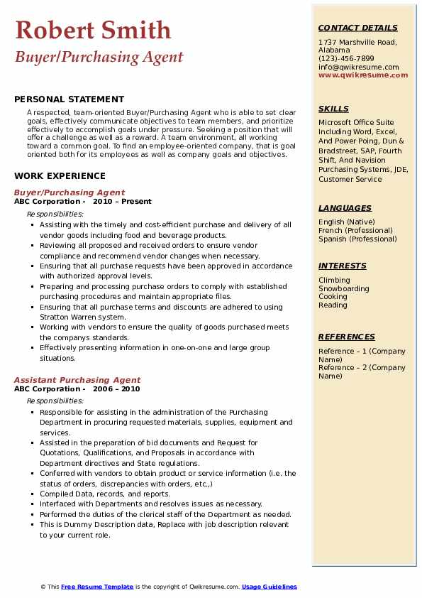 Purchasing Agent Resume Samples Summary For Resume