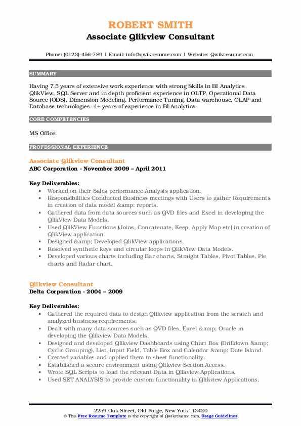 Qlikview Consultant Resume Samples Qwikresume
