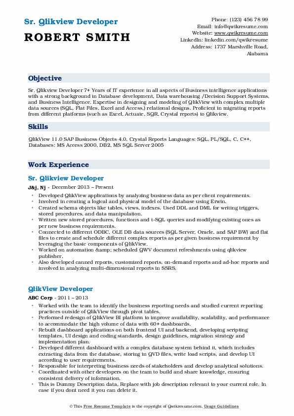 Qlikview Developer Resume Samples Qwikresume