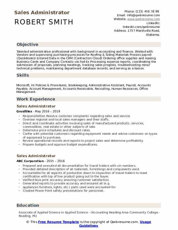 Sales Administrator Resume Samples Qwikresume