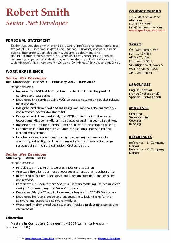 Senior Net Developer Resume Samples Qwikresume