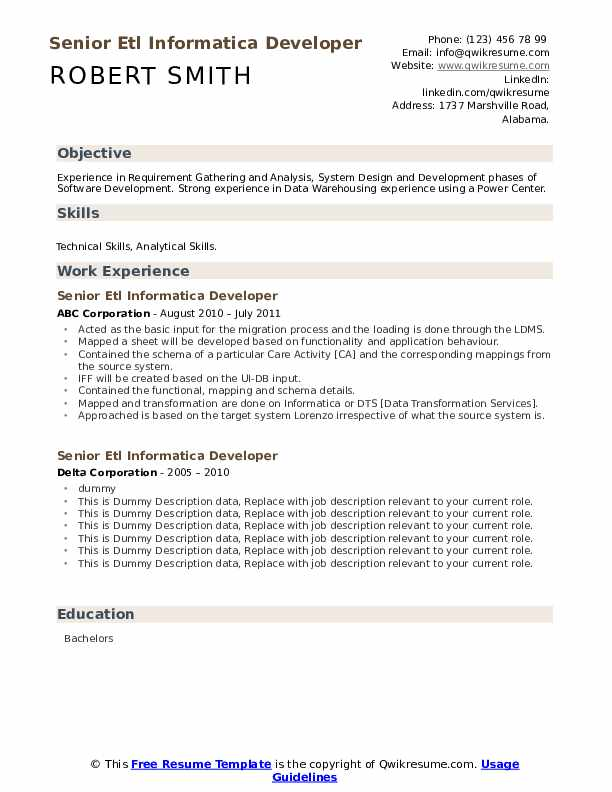 Senior Etl Informatica Developer Resume Samples Qwikresume