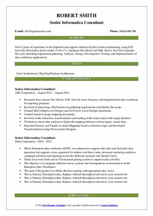 Senior Informatica Consultant Resume Samples Qwikresume