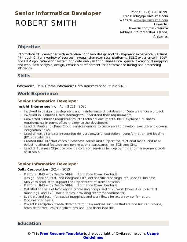 Senior Informatica Developer Resume Samples Qwikresume