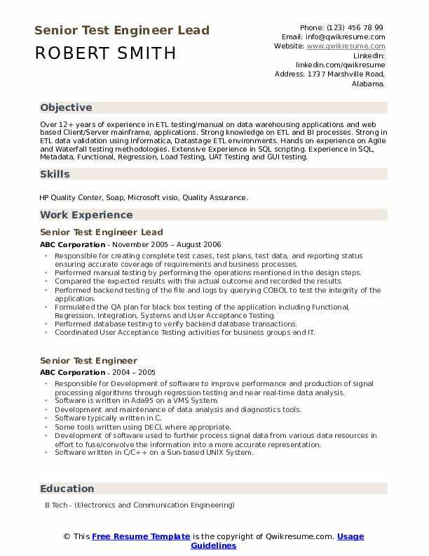 Etl Test Lead Resume April 2021