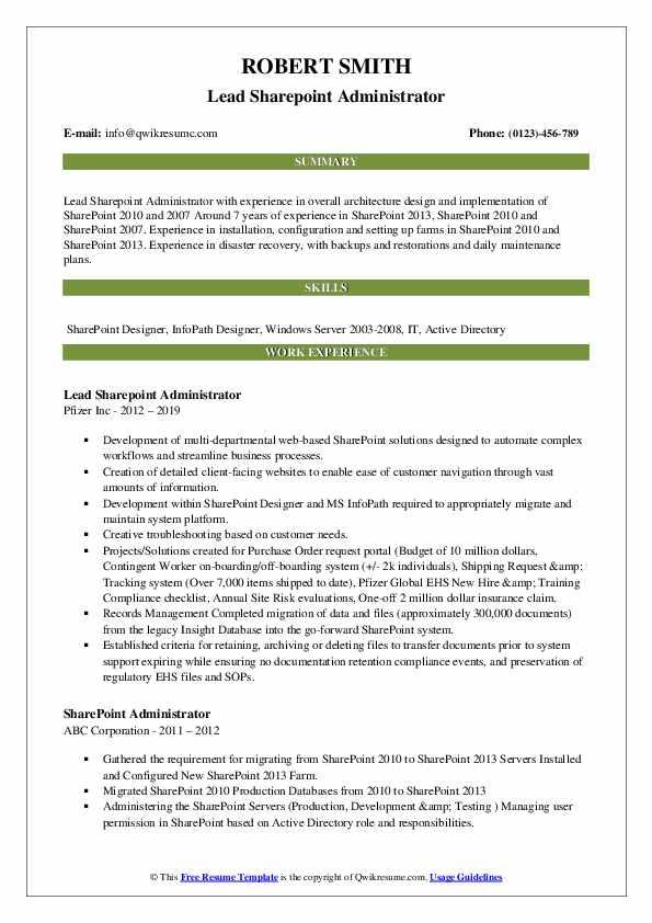 Sharepoint Administrator Resume Samples Qwikresume