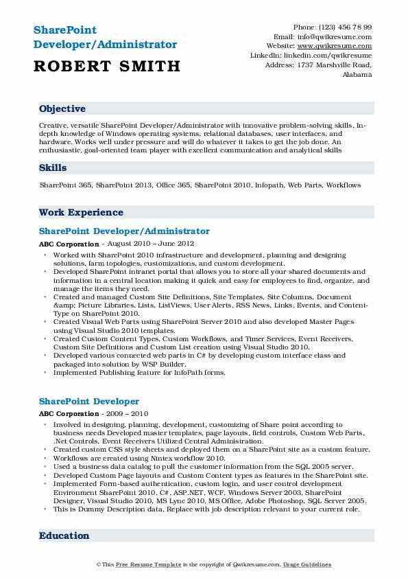 Sharepoint Developer Resume Samples Qwikresume