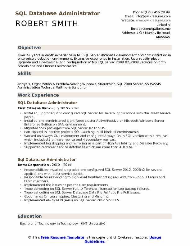 Sql Database Administrator Resume Samples Qwikresume