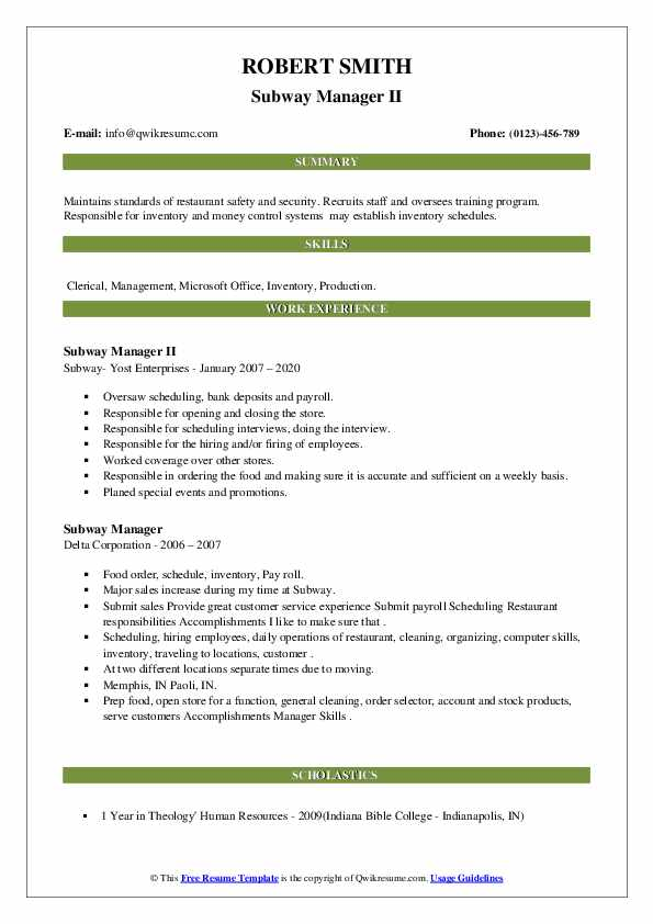 Subway Manager Resume Samples Qwikresume