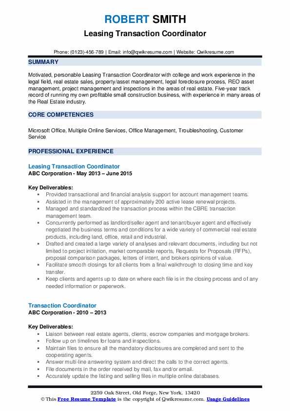 Transaction Coordinator Resume Samples Qwikresume