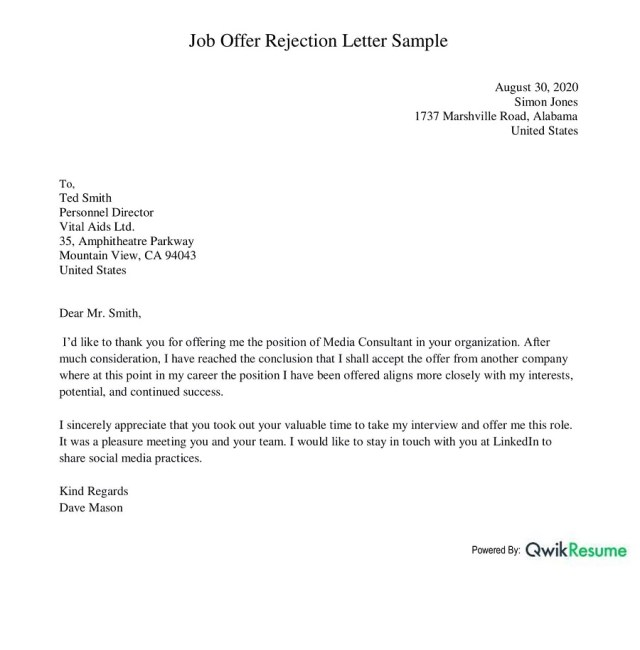 How to Decline a Job Offer With Sample Examples