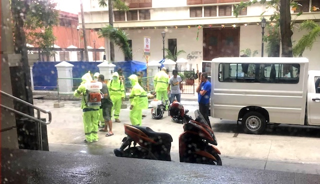 DISINFECTION. A government team from the city of Iloilo prepares to disinfect the public areas of the city. Photo from the Facebook page of the mayor of the city of Iloilo Jerry Treñas