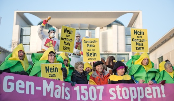 GMO HATE. People protests against the authorization of genetically modified (GM) maize with signs and banners reading 'Stop GMO Maize 1507 ', 'Only a NO can protect us' and 'No to GMO Maize 1507' in front of the Federal Chancellor's Office in Berlin, Germany, 05 February 2014. Joerg Carstensen/EPA