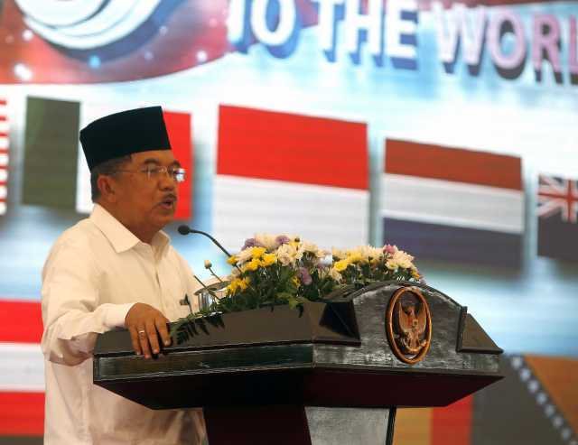 WAKIL PRESIDEN. Wapres Jusuf Kalla dalam acara peringatan 10 tahun musibah tsunami Aceh, 26 Desember 2014. Foto oleh: Adi Weda/EPA