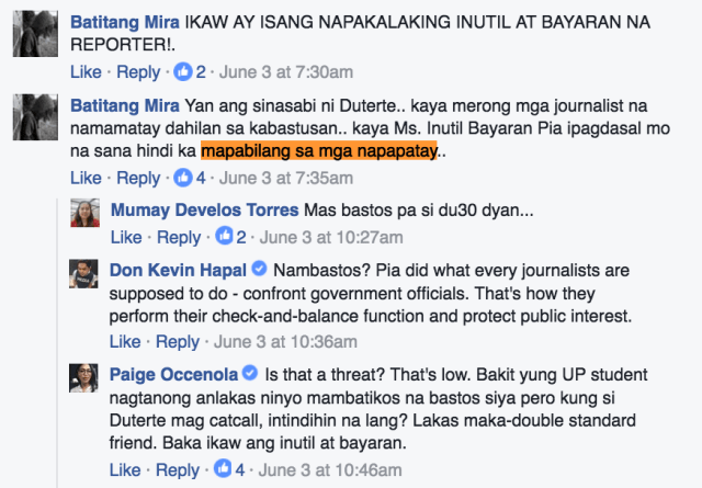 DEATH THREAT. Rappler reporter Pia Ranada was attacked for asking the president questions on catcalling.