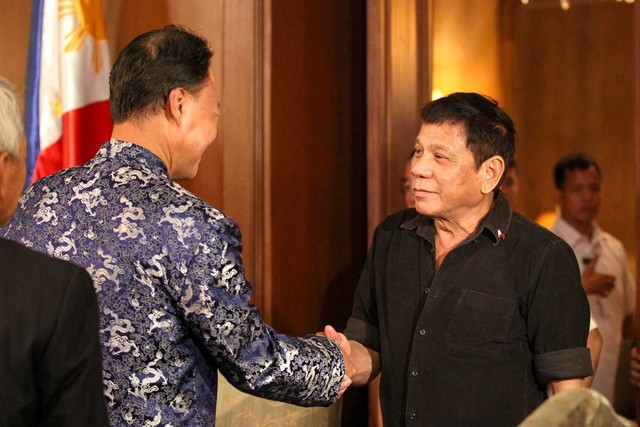 DUTERTE AND CHINA. President Rodrigo Duterte meets Chinese Ambassador Zhao Jianhua at Malacañang Palace in July 2016. File photo from Presidential Photographers Division