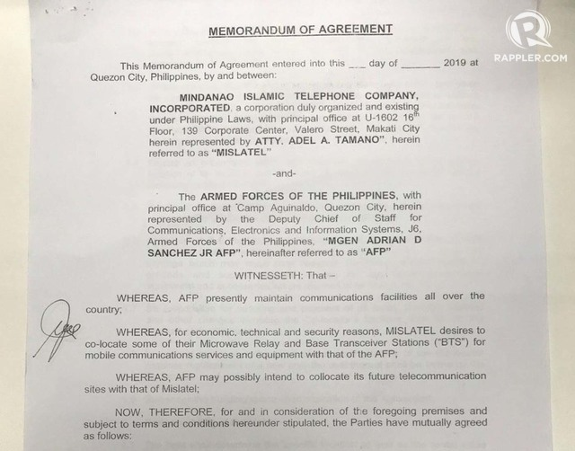 CO-LOCATION AGREEMENT. The first page of the memorandum of agreement between the Armed Forces of the Philippines and Dito Telecommunity, allowing the telco to build facilities in military properties. Photo obtained by Rappler