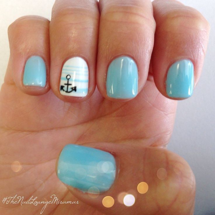 I Love This Design Because Anchors Are Simple And Clic Using A Light Blue That S Slightly Brighter Than The One Pictured Like Opi Breakfast At