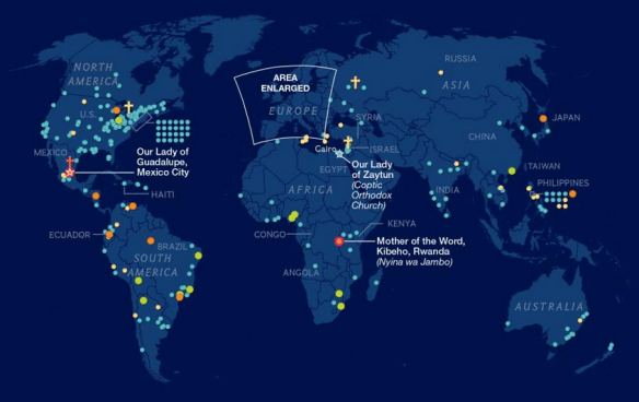 map of marian apparitions