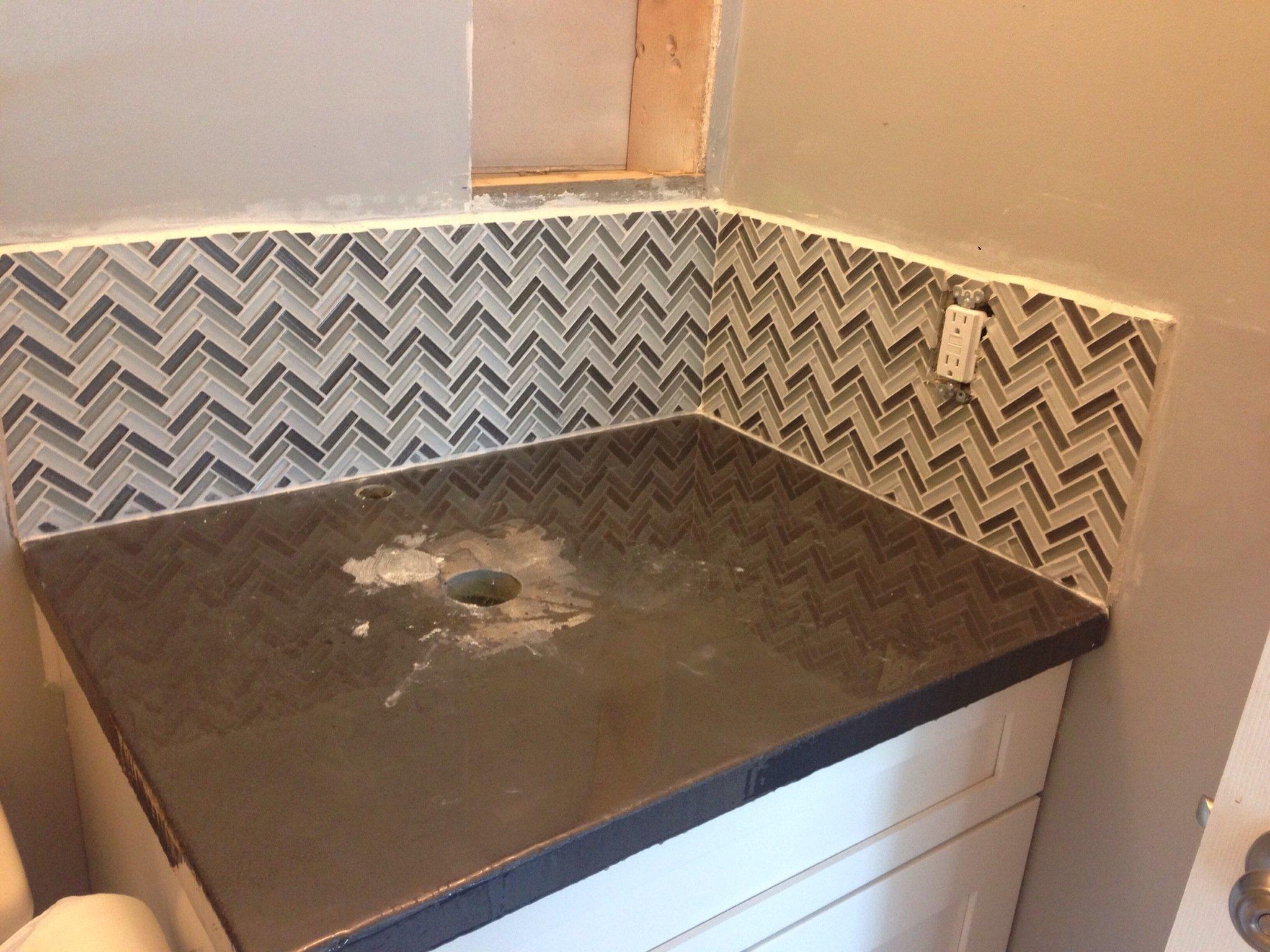 to install herringbone backsplash tile