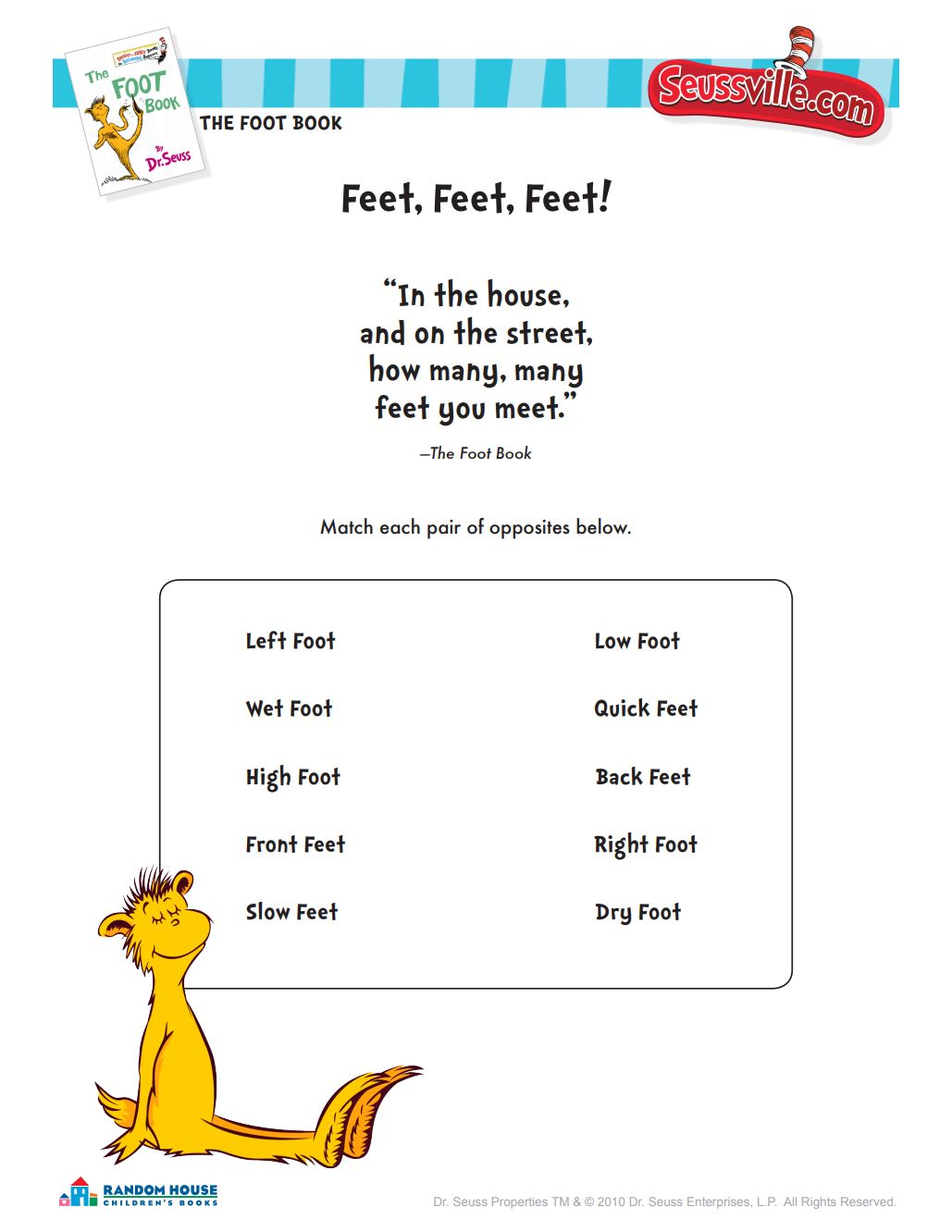 Dr Seuss Printables And Activities