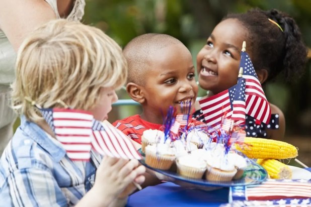 Kids at a Fourth of July picnic