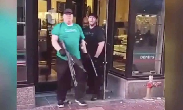 Rioters try forcing way into bakery, but owner and sons meet them at door with guns — and rioters take their hard day's work elsewhere