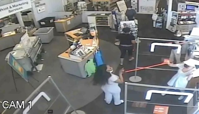 Female Staples customer throws woman with a cane to the floor, breaking her leg, after being told to socially distance