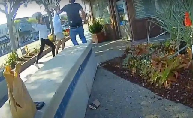 VIDEO: Woman throws hot coffee at man who isn't wearing mask — and then things get bloody