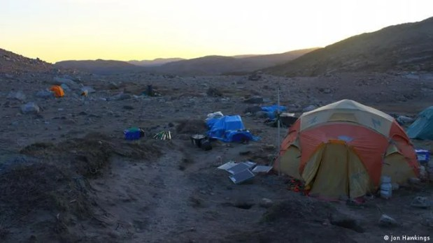 Researchers camped in front of the Leverett Glacier.