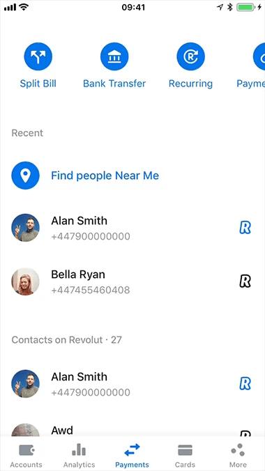 Revolut app screen