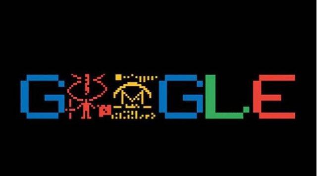 অ্যারেসিবো বার্তার ৪৪ বছর উপলক্ষ্যে গুগলের ডুডল; Image Source: google.com