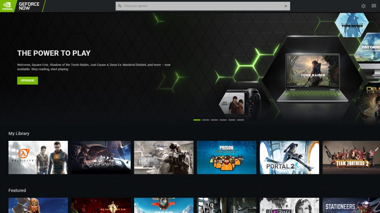 The home screen of the GeForce Now app