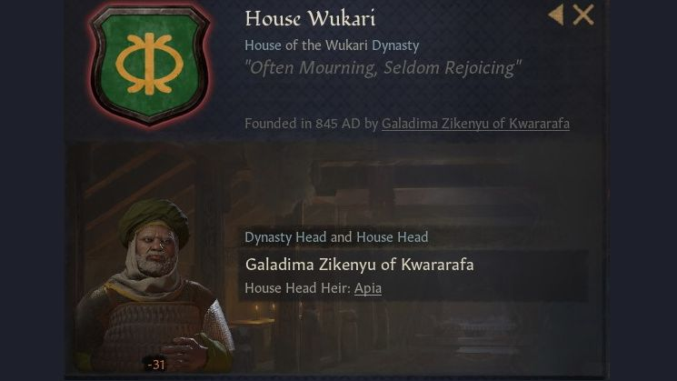A panel showing house wukari's crest, a sort of symbol of a tall hide shield with spears crossed behind it, all in yellow, on a green background. The house leader is pictured, and he does indeed look glum.